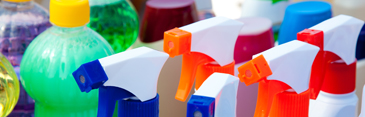 Bottles of household chemicals
